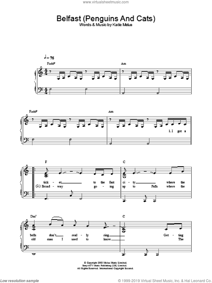 Belfast (Penguins And Cats) sheet music for piano solo by Katie Melua, intermediate skill level