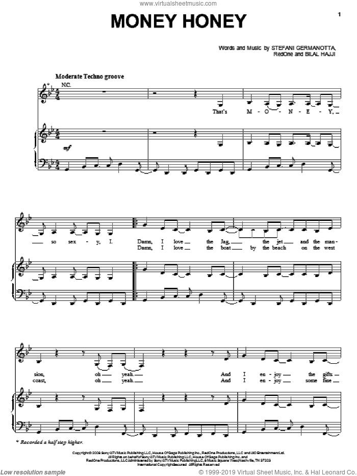 Money Honey sheet music for voice, piano or guitar by Lady GaGa, Bilal Hajji and RedOne, intermediate skill level