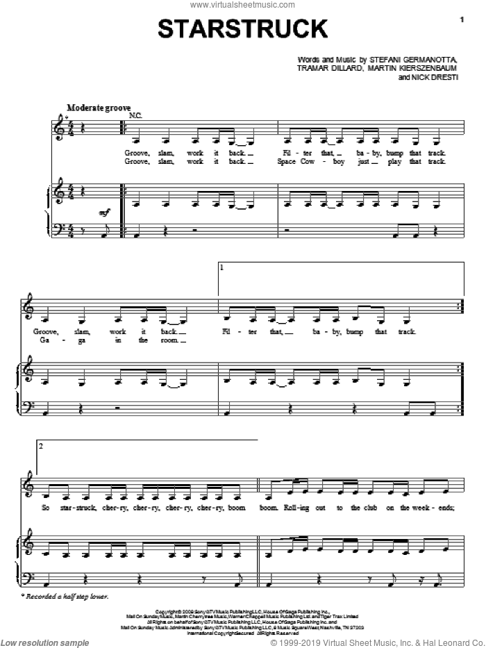 Starstruck sheet music for voice, piano or guitar by Lady GaGa, Martin Kierszenbaum, Nick Dresti and Tramar Dillard, intermediate skill level