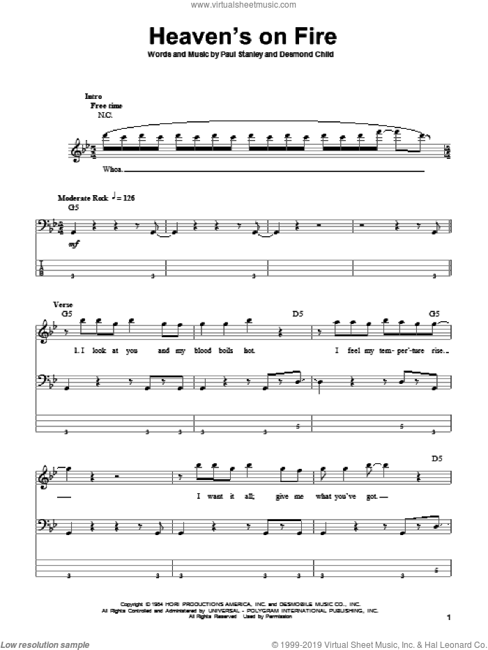 Heaven's On Fire sheet music for bass (tablature) (bass guitar) by KISS, Desmond Child and Paul Stanley, intermediate skill level