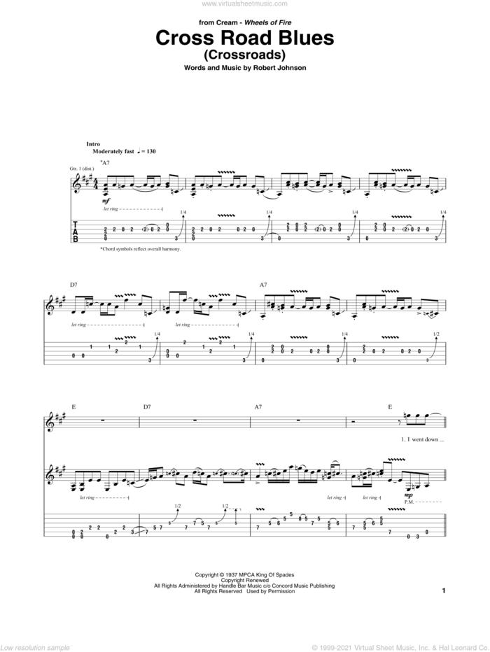 Cross Road Blues (Crossroads) sheet music for guitar (tablature) by Cream, Eric Clapton and Robert Johnson, intermediate skill level