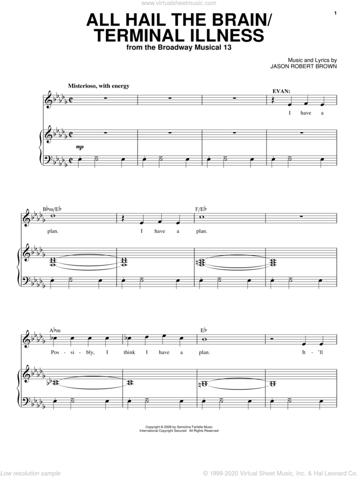 All Hail The Brain / Terminal Illness (from 13: The Musical) sheet music for voice and piano by Jason Robert Brown and 13: The Musical, intermediate skill level