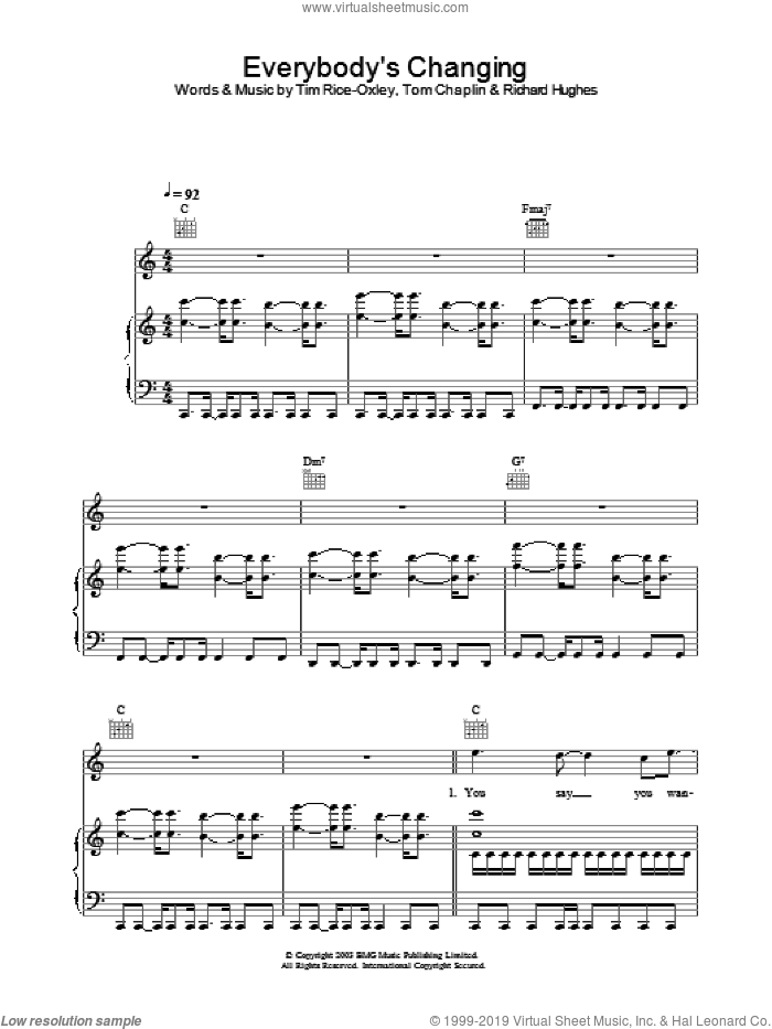 Everybody's Changing sheet music for voice, piano or guitar by Tim Rice-Oxley, intermediate skill level