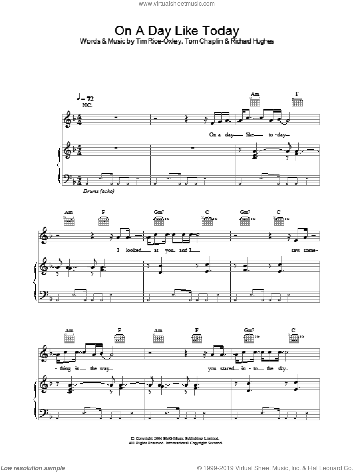 On A Day Like Today sheet music for voice, piano or guitar by Tim Rice-Oxley, intermediate skill level