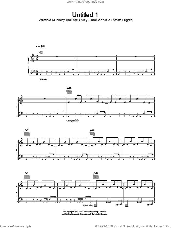 Untitled 1 sheet music for voice, piano or guitar by Tim Rice-Oxley, intermediate skill level