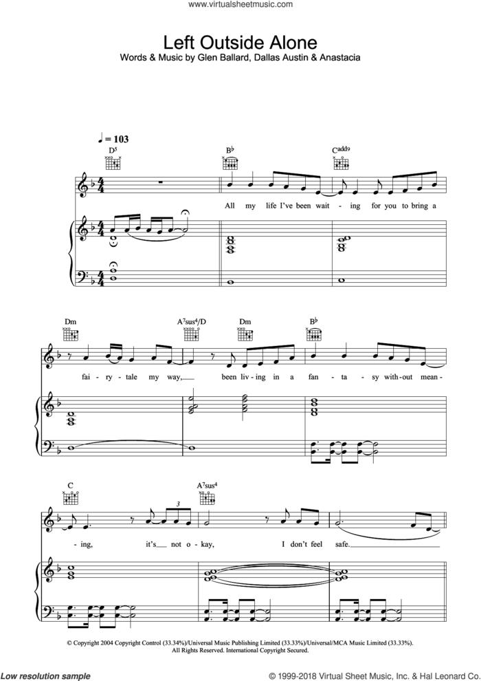 Left Outside Alone sheet music for voice, piano or guitar by Anastacia, Dallas Austin and Glen Ballard, intermediate skill level