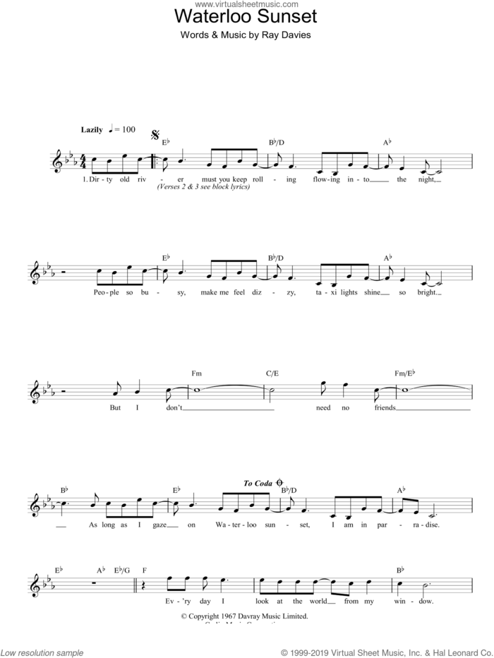 Waterloo Sunset sheet music for voice and other instruments (fake book) by The Kinks and Ray Davies, intermediate skill level