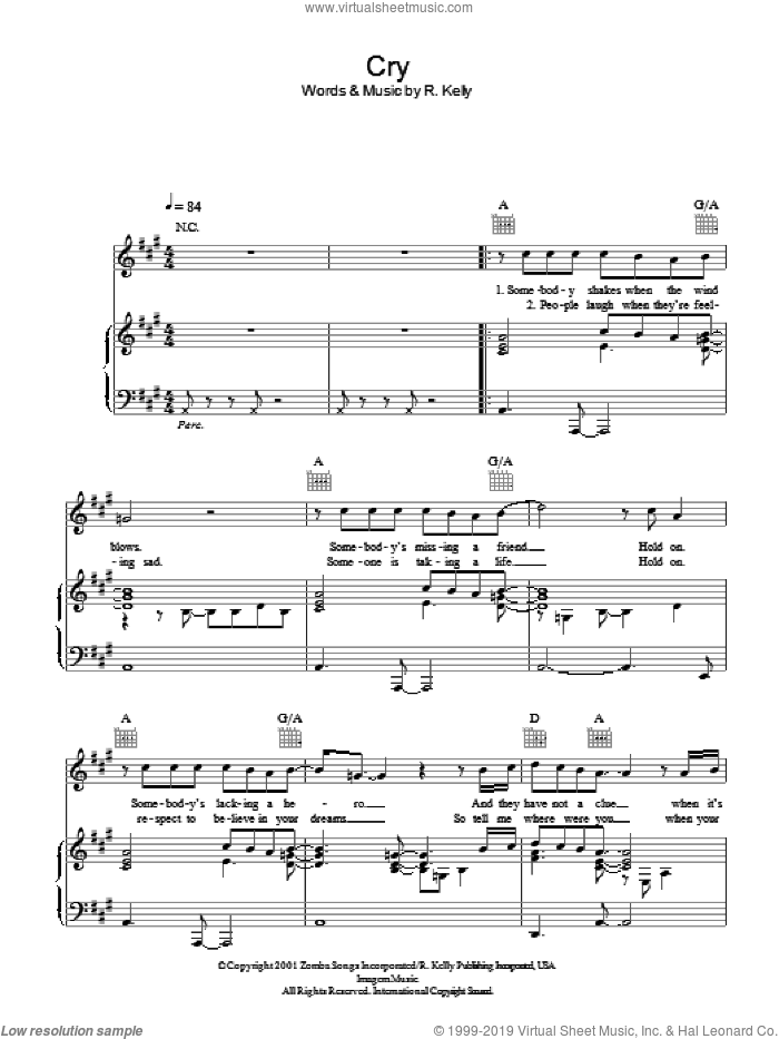 Cry sheet music for voice, piano or guitar by Michael Jackson and Robert Kelly, intermediate skill level