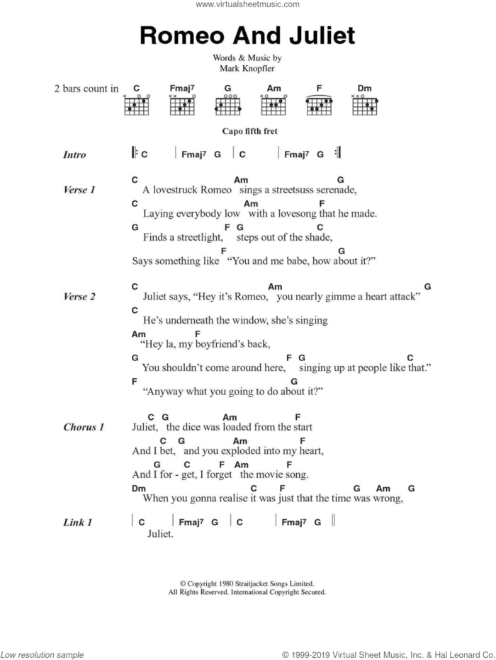 Romeo And Juliet sheet music for guitar (chords) by Dire Straits and Mark Knopfler, intermediate skill level