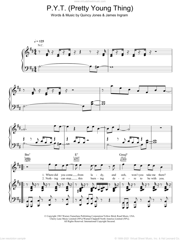 P.Y.T. (Pretty Young Thing) sheet music for voice, piano or guitar by Michael Jackson, James Ingram and Quincy Jones, intermediate skill level