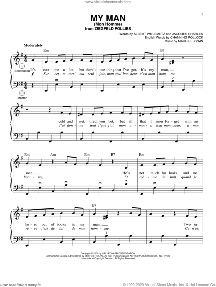 My Man (Mon Homme) sheet music for accordion by Albert Willemetz, Gary Meisner, Channing Pollock, Jacques Charles and Maurice Yvain, intermediate skill level
