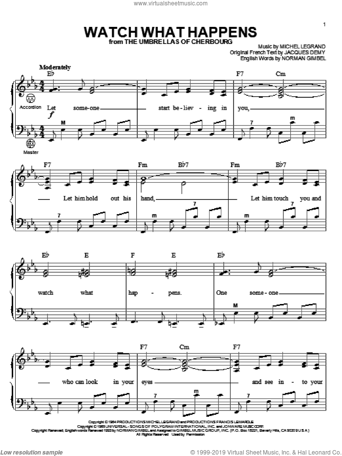 Watch What Happens sheet music for accordion by Michel LeGrand, Gary Meisner and Norman Gimbel, intermediate skill level