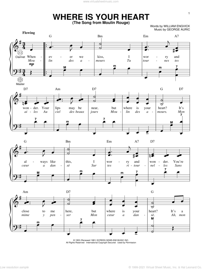 Where Is Your Heart (The Song From Moulin Rouge) sheet music for accordion by Percy Faith, Gary Meisner, George Auric and William Engvick, intermediate skill level