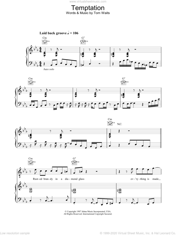 Temptation sheet music for voice, piano or guitar by Diana Krall, intermediate skill level