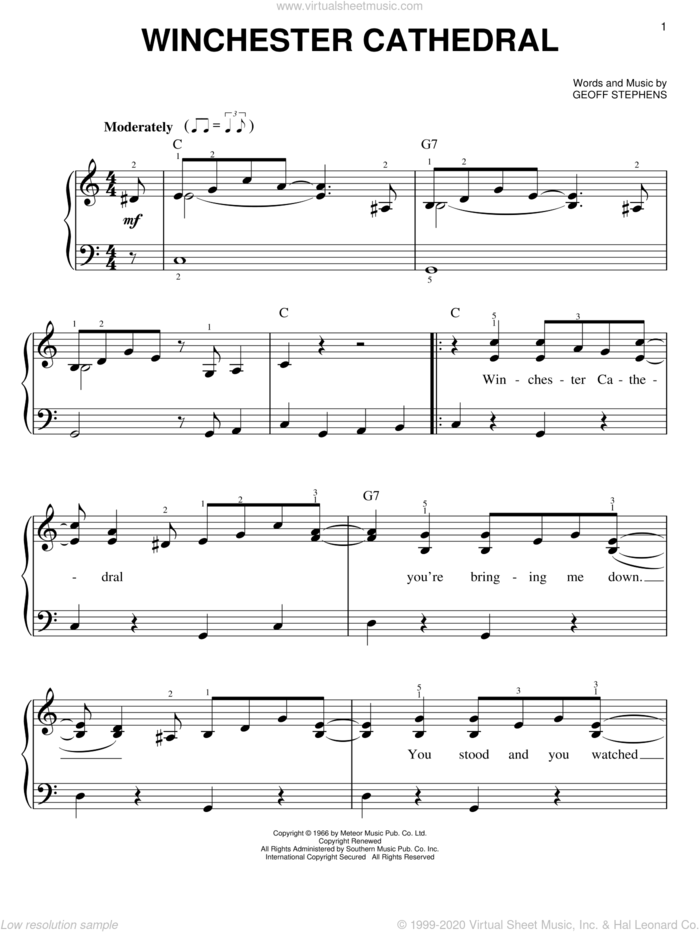 Winchester Cathedral sheet music for piano solo by Geoff Stephens, easy skill level