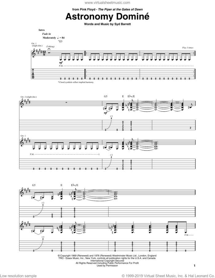 Astronomy Domine sheet music for guitar (tablature) by Pink Floyd and Syd Barrett, intermediate skill level