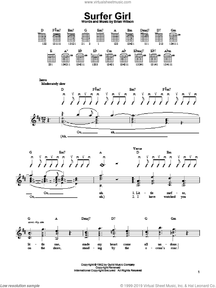 Surfer Girl sheet music for guitar solo (chords) by The Beach Boys and Brian Wilson, easy guitar (chords)