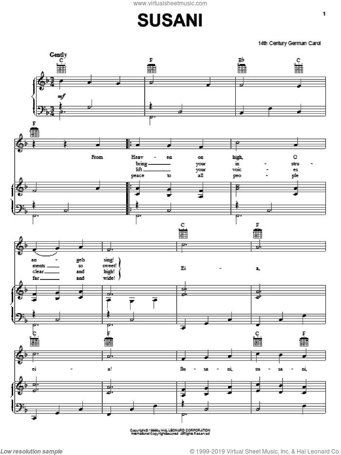 Susani sheet music for voice, piano or guitar, intermediate skill level