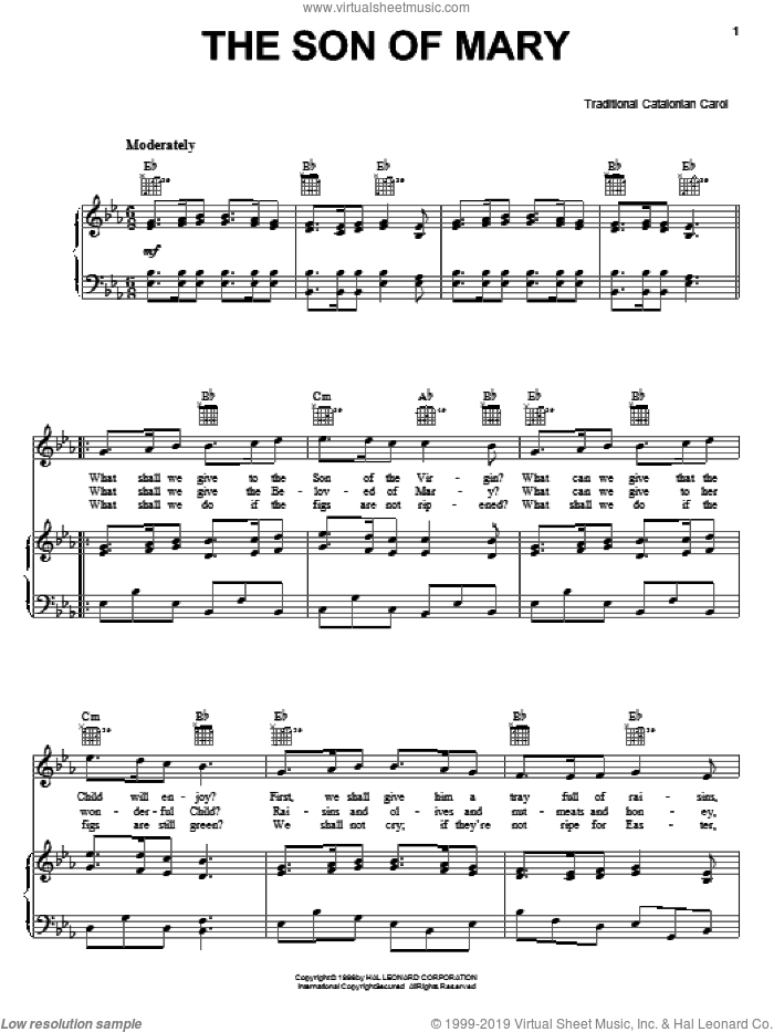 The Son Of Mary sheet music for voice, piano or guitar, intermediate skill level