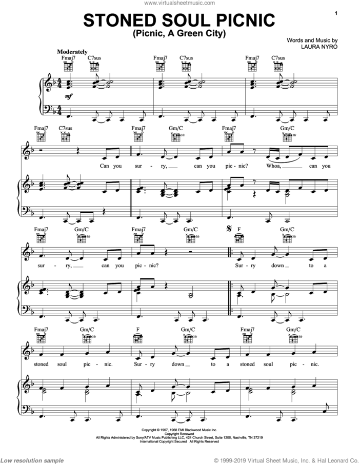 Stoned Soul Picnic (Picnic, A Green City) sheet music for voice, piano or guitar by The Fifth Dimension and Laura Nyro, intermediate skill level