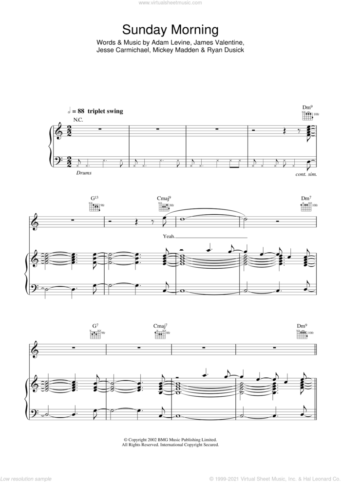 Sunday Morning sheet music for voice, piano or guitar by Maroon 5, Adam Levine and Jesse Carmichael, intermediate skill level