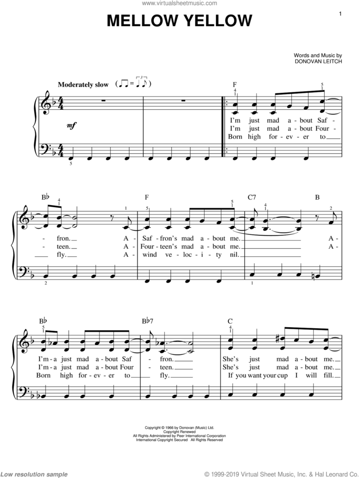 Mellow Yellow sheet music for piano solo by Walter Donovan and Donovan Leitch, easy skill level