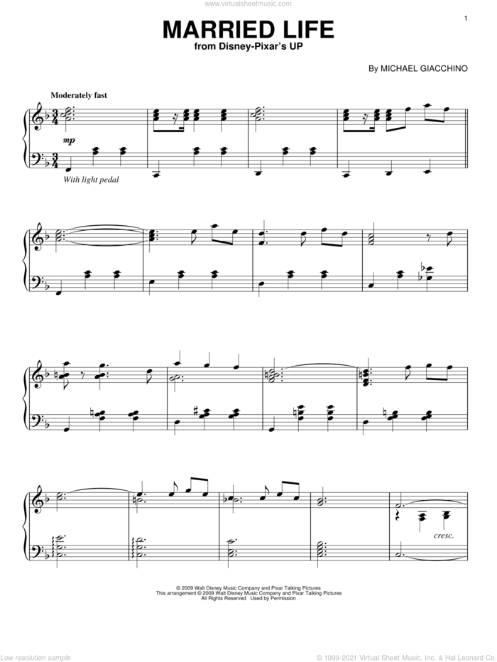 Married Life (from Up), (intermediate) sheet music for piano solo by Michael Giacchino and Up (Movie), intermediate skill level