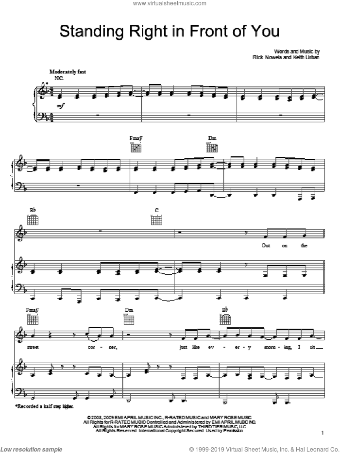 Standing Right In Front Of You sheet music for voice, piano or guitar by Keith Urban and Rick Nowels, intermediate skill level