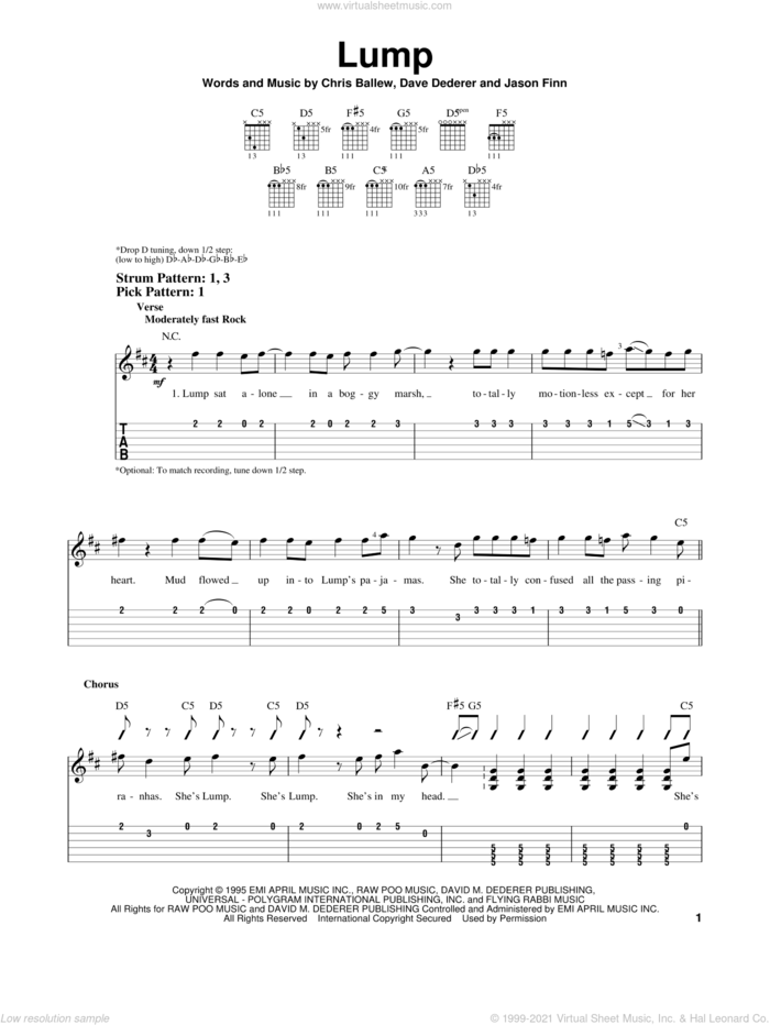 Lump sheet music for guitar solo (easy tablature) by Presidents Of The United States Of America, Chris Ballew, Dave Dederer and Jason Finn, easy guitar (easy tablature)