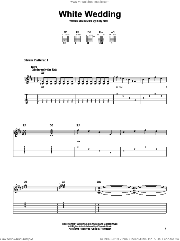 White Wedding sheet music for guitar solo (easy tablature) by Billy Idol, easy guitar (easy tablature)