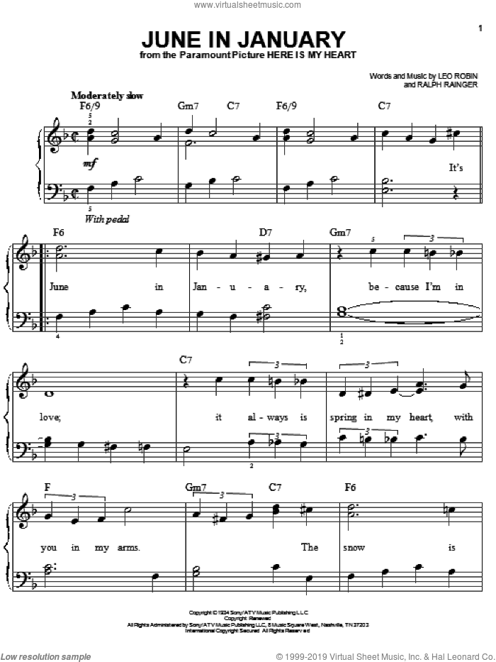 June In January sheet music for piano solo by Ralph Rainger and Leo Robin, easy skill level