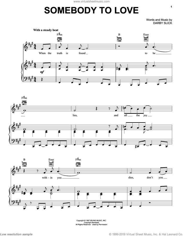 Somebody To Love sheet music for voice, piano or guitar by Jefferson Airplane and Darby Slick, intermediate skill level
