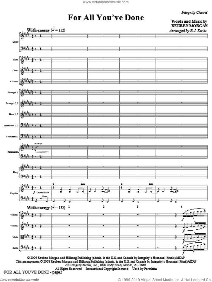 For All You've Done (COMPLETE) sheet music for orchestra/band (Orchestra) by Reuben Morgan and BJ Davis, intermediate skill level