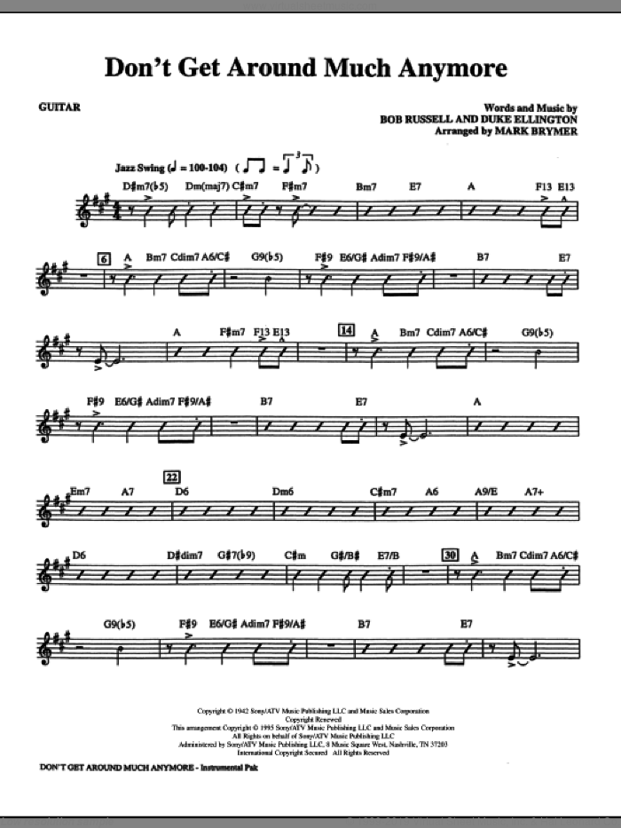 Don't Get Around Much Anymore (arr. Mark Brymer) (complete set of parts) sheet music for orchestra/band (Rhythm) by Duke Ellington, Bob Russell and Mark Brymer, intermediate skill level