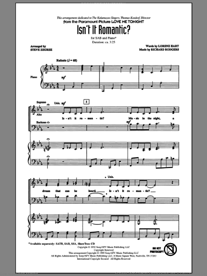 Isn't It Romantic? sheet music for choir (SAB: soprano, alto, bass) by Richard Rodgers, Lorenz Hart and Steve Zegree, intermediate skill level