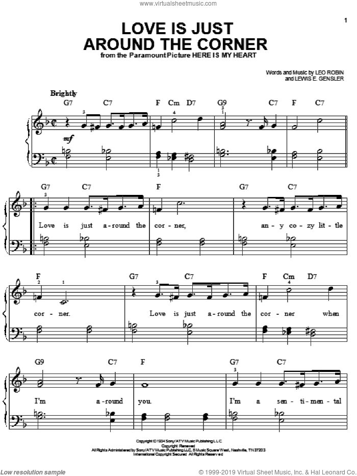 Love Is Just Around The Corner sheet music for piano solo by Bing Crosby, Leo Robin and Lewis E. Gensler, easy skill level