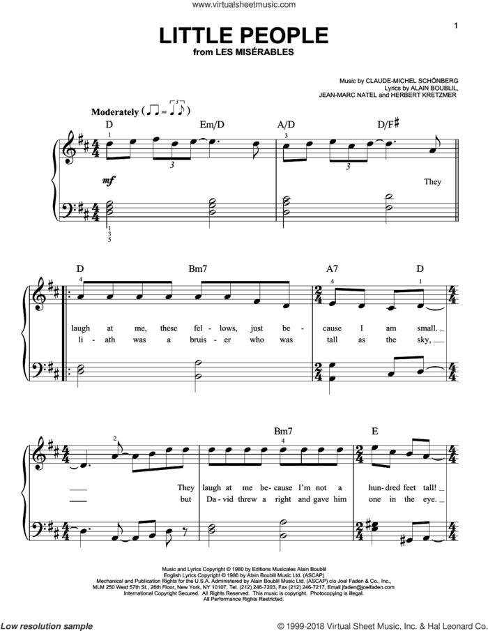 Little People sheet music for piano solo by Alain Boublil, Les Miserables (Musical), Claude-Michel Schonberg, Herbert Kretzmer and Jean-Marc Natel, beginner skill level