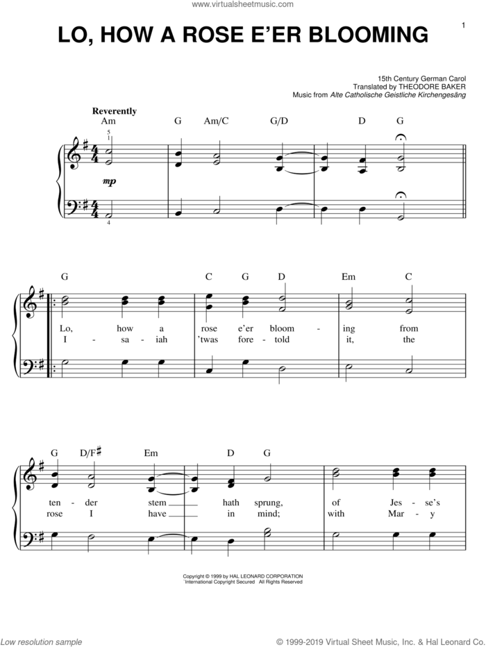 Lo, How A Rose E'er Blooming sheet music for piano solo by Alte Catholische Geistliche Ki, 15th Century German Carol and Theodore Baker, classical score, easy skill level