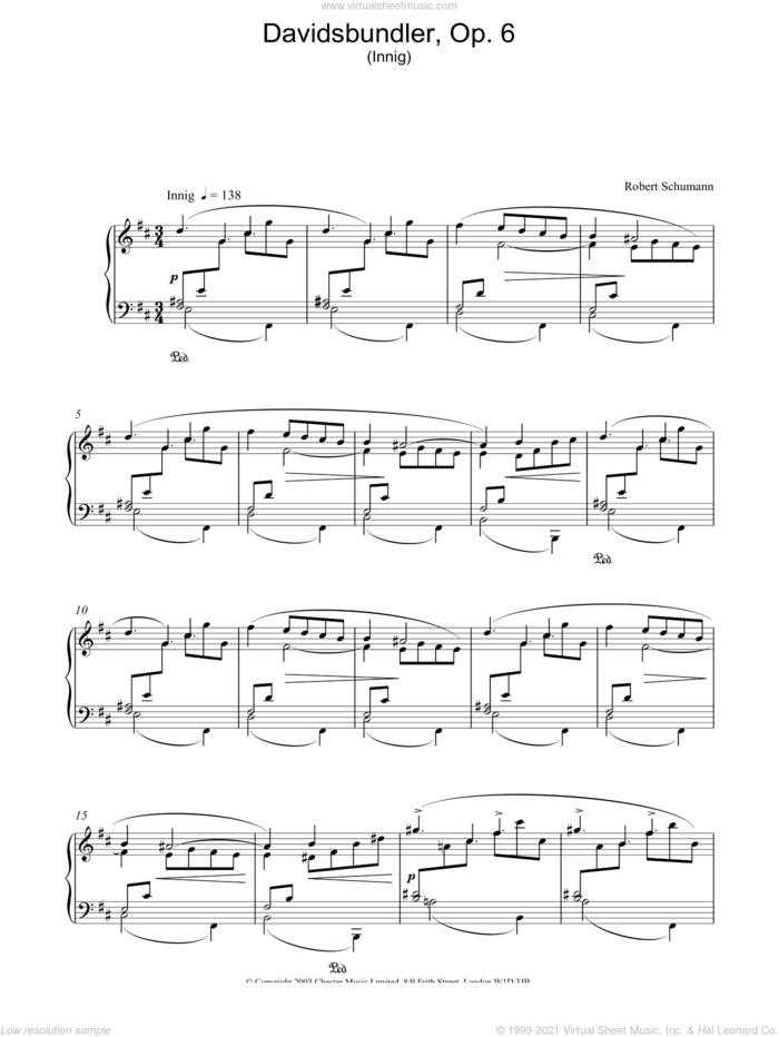 Davidsbundler, Op. 6 (Innig) sheet music for piano solo by Robert Schumann, classical score, intermediate skill level