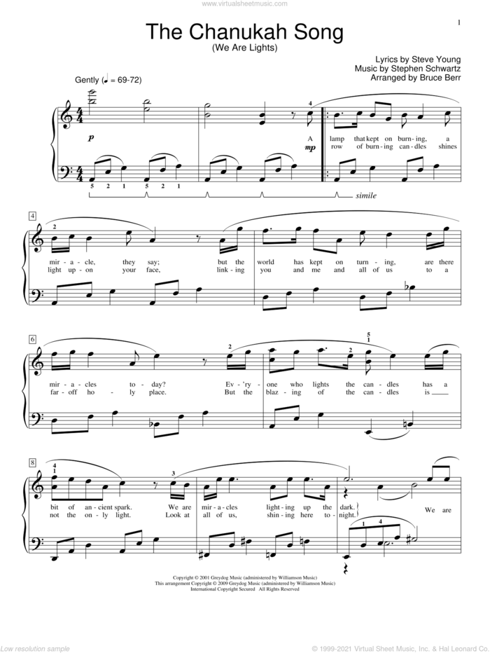 The Chanukah Song (We Are Lights) sheet music for piano solo (elementary) by Stephen Schwartz, Bruce Berr, Miscellaneous and Steve Young, beginner piano (elementary)
