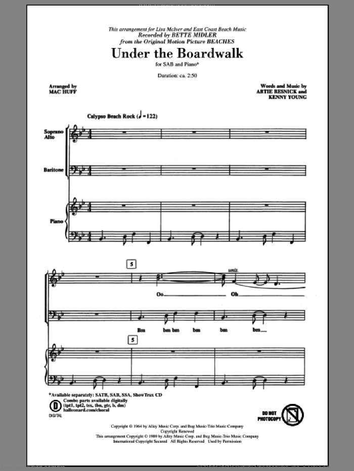 Under The Boardwalk sheet music for choir (SAB: soprano, alto, bass) by Kenny Young, Artie Resnick, Bette Midler, Mac Huff and The Drifters, intermediate skill level