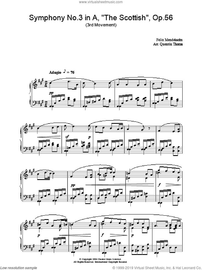 Symphony No.3 in A, 'The Scottish', Op.56 (3rd Movement) sheet music for piano solo by Felix Mendelssohn-Bartholdy, classical score, intermediate skill level