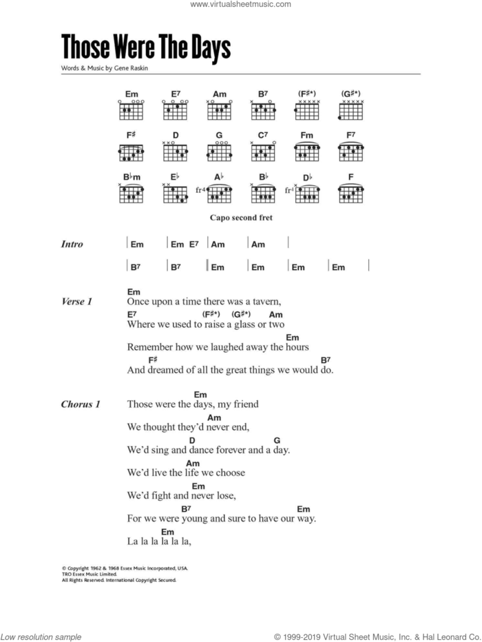 Those Were The Days sheet music for guitar (chords) by Mary Hopkin and Gene Raskin, intermediate skill level