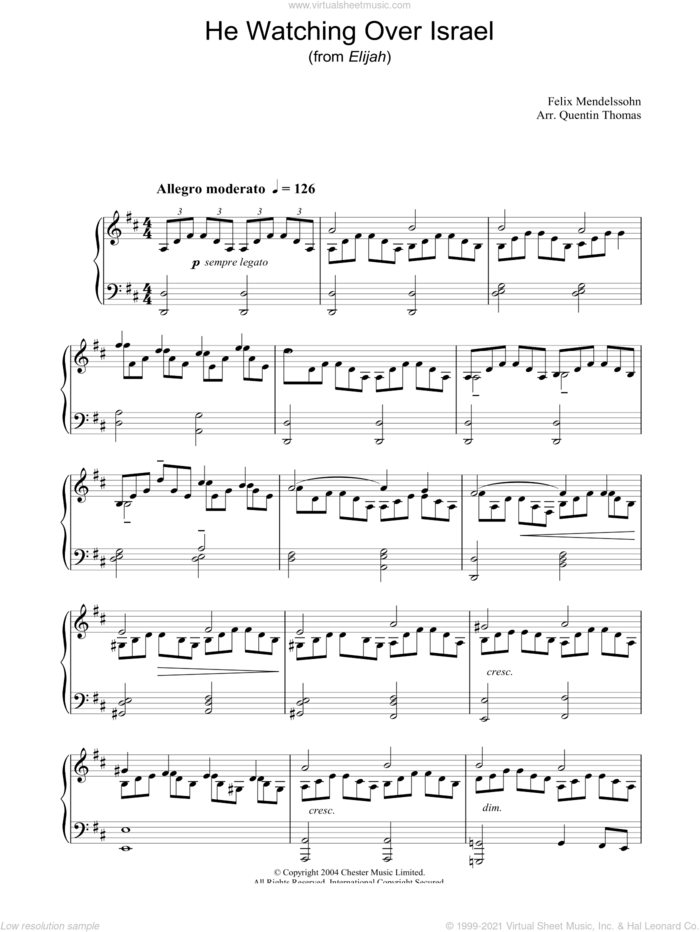 He Watching Over Israel sheet music for piano solo by Felix Mendelssohn-Bartholdy, classical score, intermediate skill level