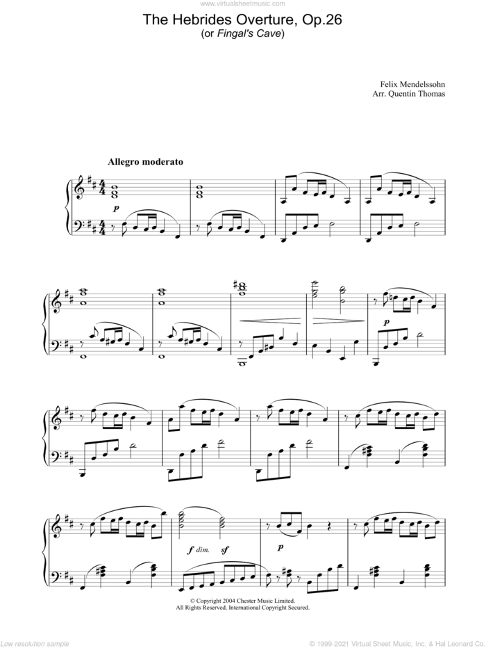 The Hebrides Overture, Op.26 sheet music for piano solo by Felix Mendelssohn-Bartholdy, classical score, intermediate skill level