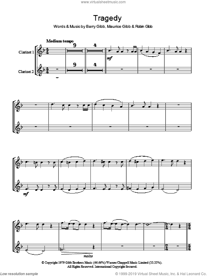 Tragedy sheet music for voice and other instruments (fake book) by Bee Gees, Barry Gibb, Maurice Gibb and Robin Gibb, intermediate skill level