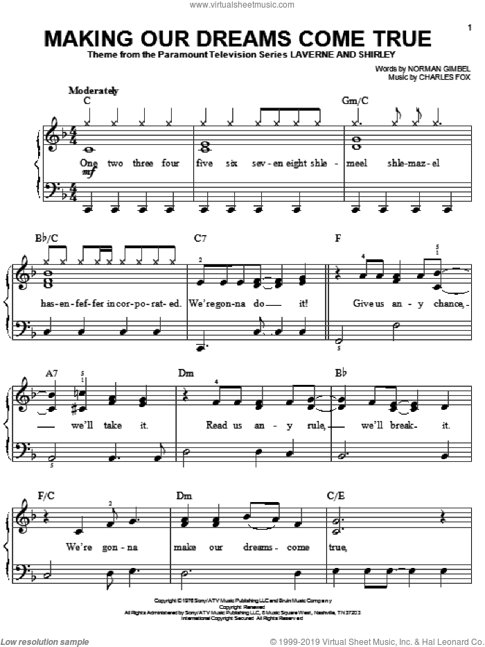 Making Our Dreams Come True sheet music for piano solo by Charles Fox and Norman Gimbel, easy skill level
