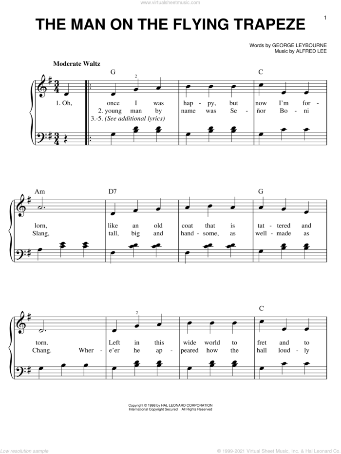 The Man On The Flying Trapeze sheet music for piano solo by George Leybourne and Alfred Lee, easy skill level
