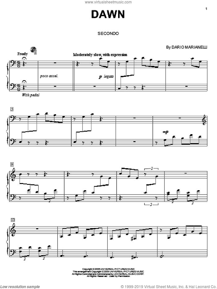 Dawn sheet music for piano four hands by Dario Marianelli, Carol Klose and Pride & Prejudice (Movie), intermediate skill level