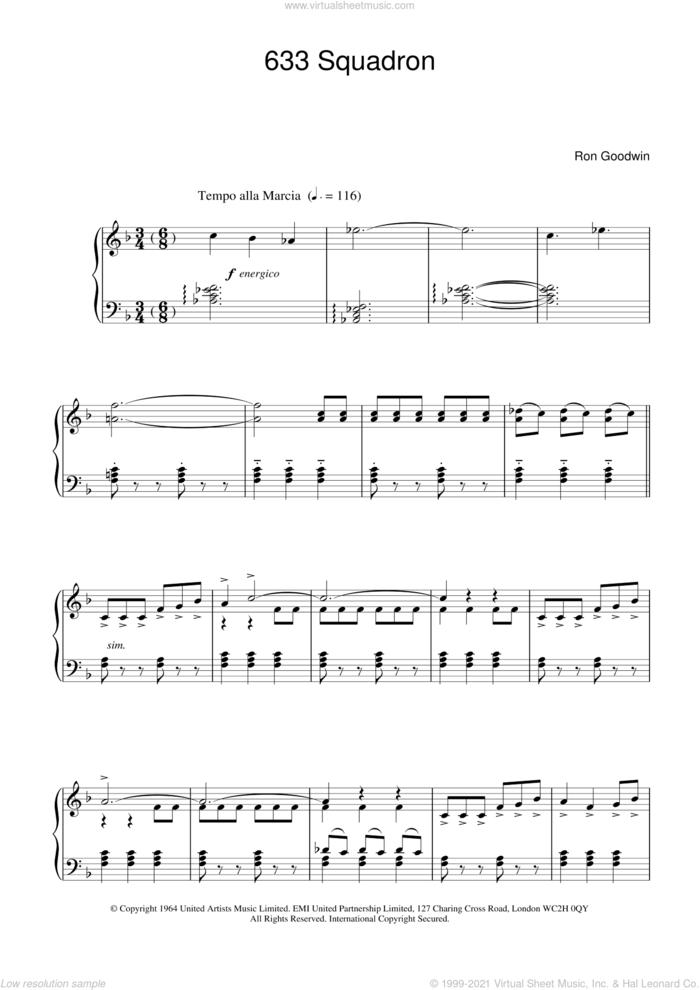 633 Squadron sheet music for piano solo by Ron Goodwin, intermediate skill level